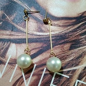 💎 Elegant Faux Pearl Dangle Earrings